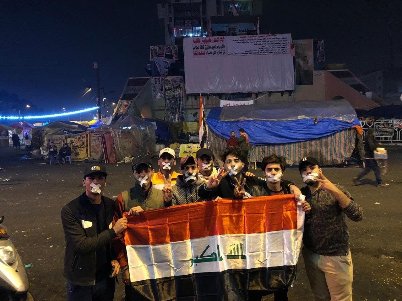 محتجون في ساحة التحرير ببغداد
