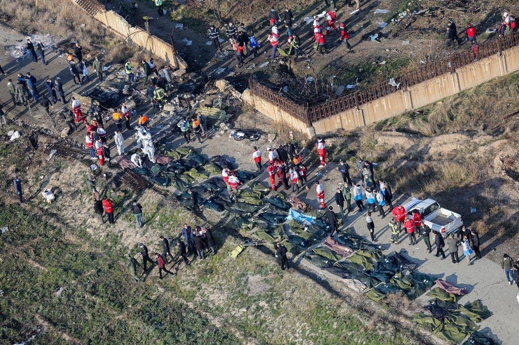 جثث ضحايا الطائرة الأوكرانية