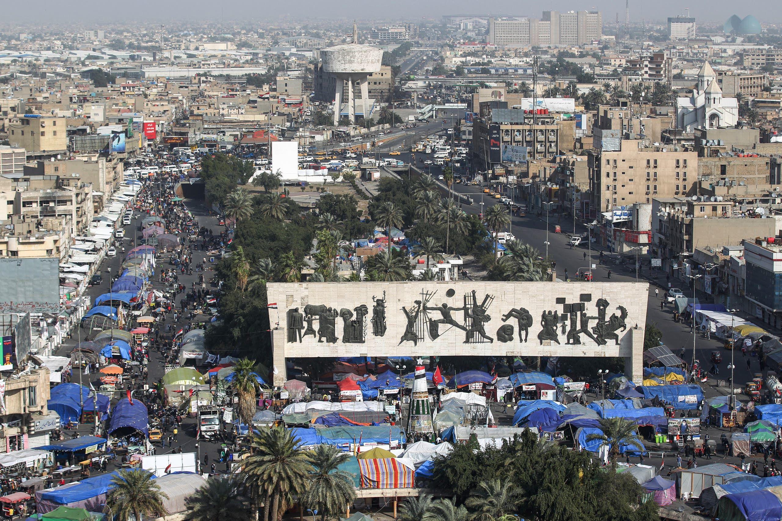 من ساحة التحرير في بغداد (17 يناير- فرانس برس)