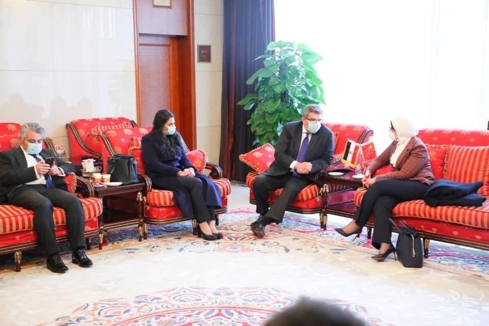 وزيرة الصحة المصرية خلال أحد اجتماعاتها في الصين