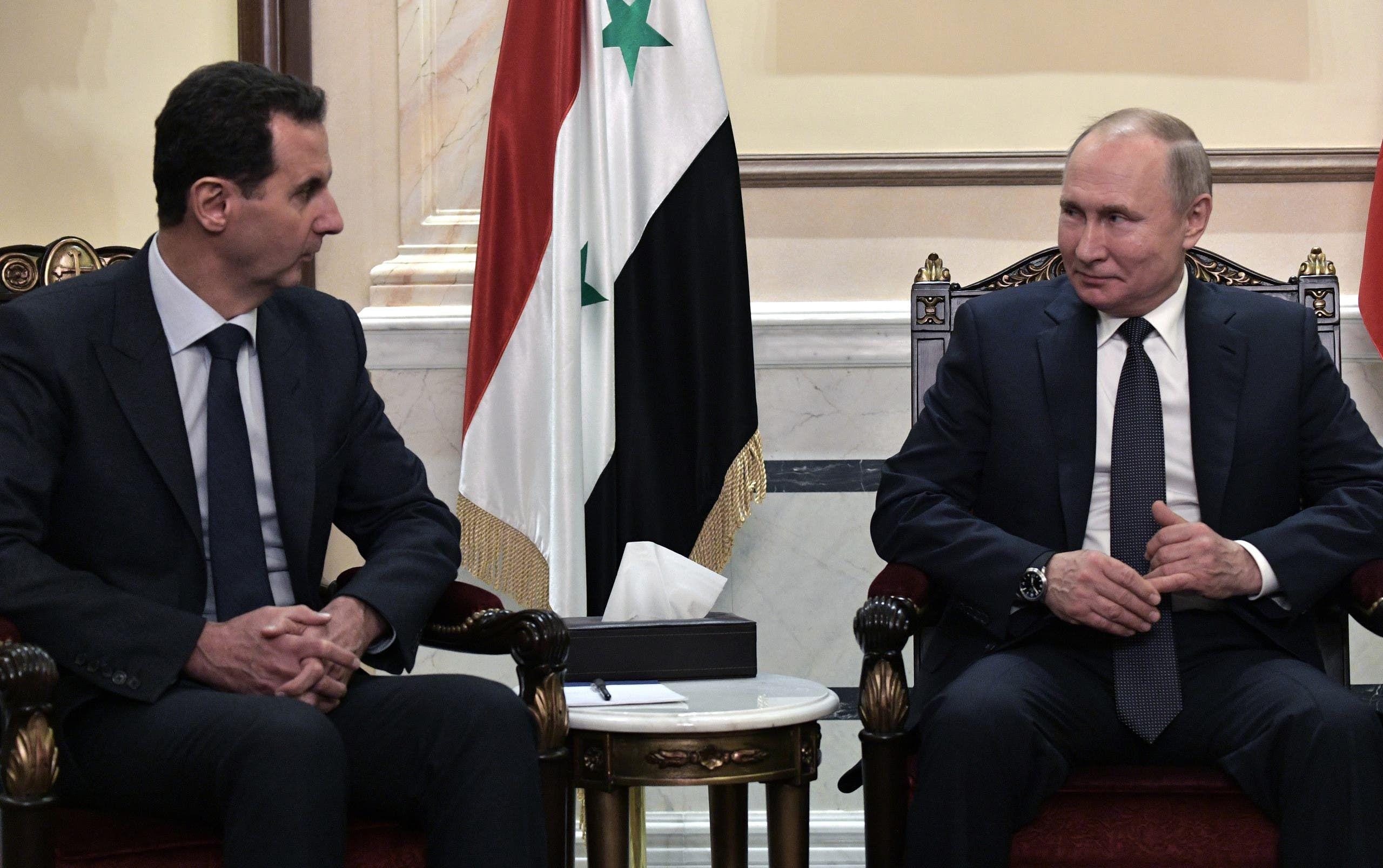 من لقاء بوتين والأسد في دمشق في يناير 2020 (فرانس برس)