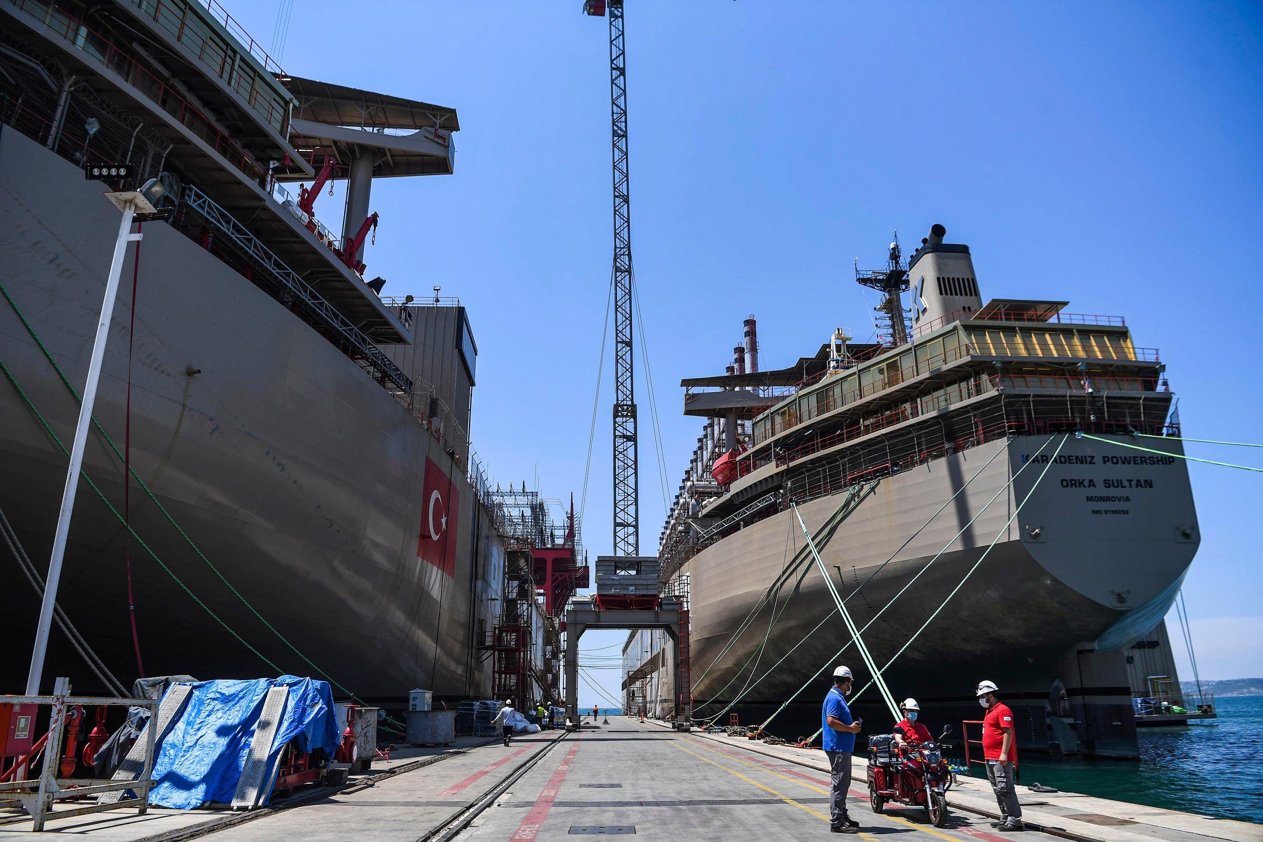 سفينة تركية عائمة لتوليد الطاقة (أرشيفية- فرانس برس)