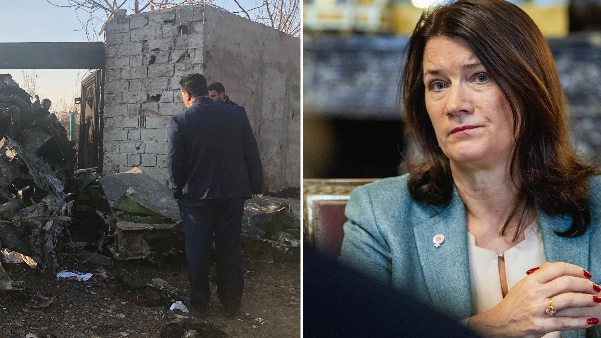 وزيرة الخارجية السويدية آن ليندي وحطام الطائرة الاوكرانية