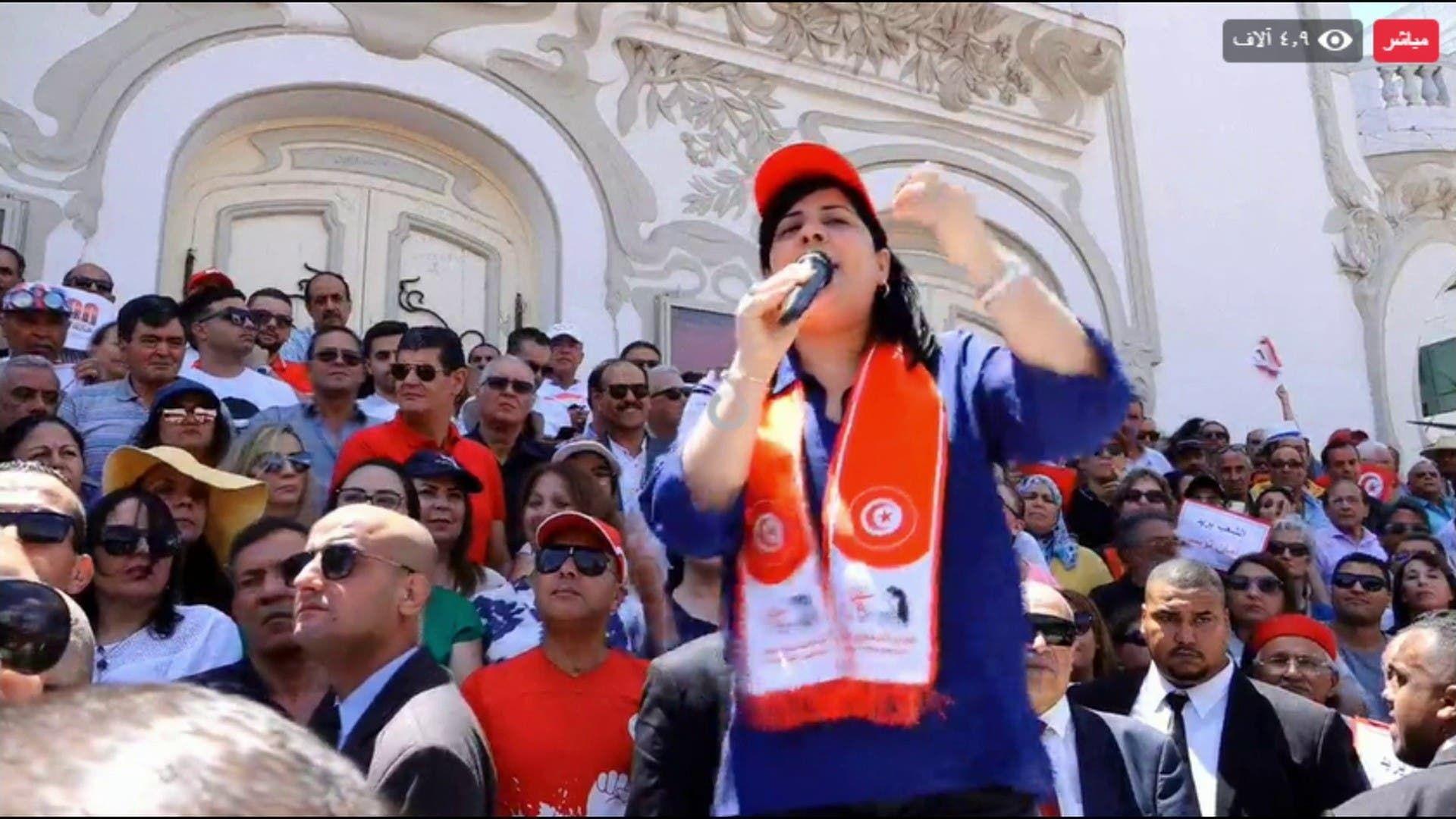 عبير موسي أثناء وقفة احتجاجية سابقة