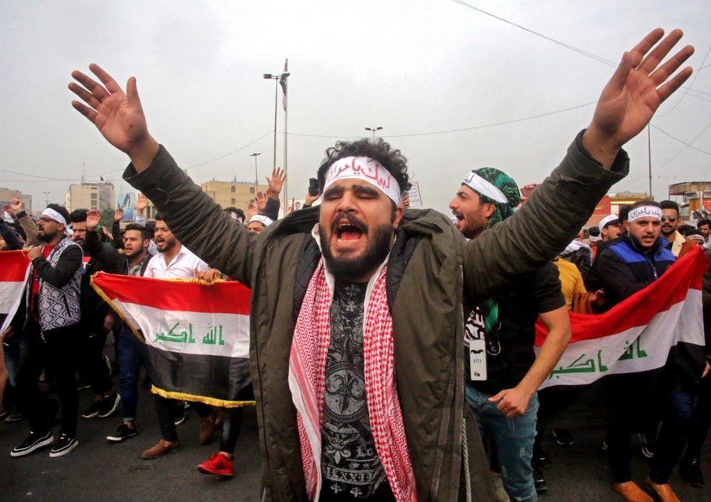 مظاهرات في ساحة التحرير ببغداد 19 يناير فرانس برس