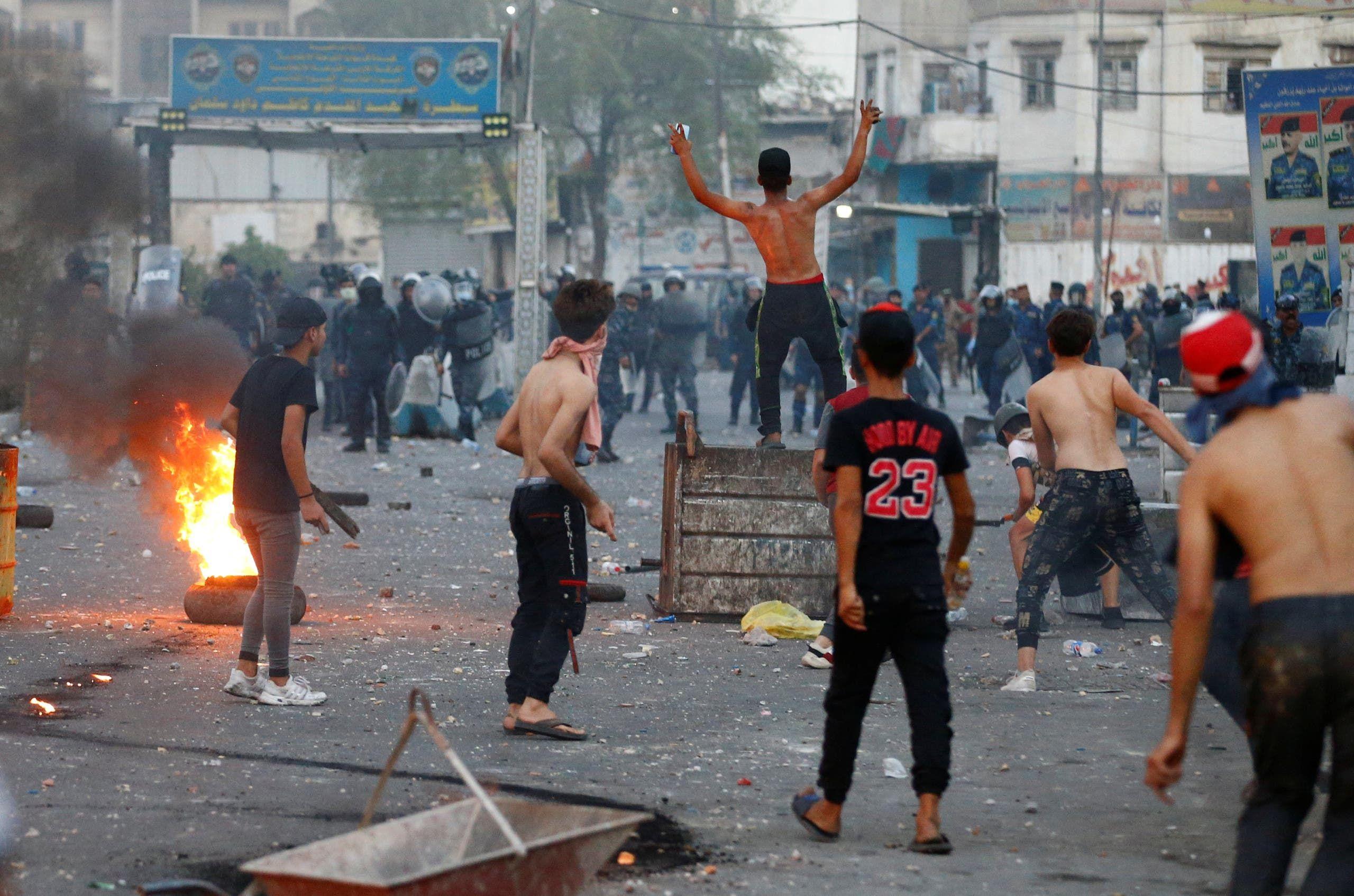 احتجاجات في بغداد الاثنين الماضي