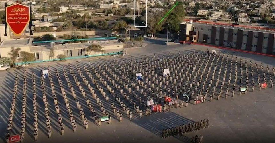 عرض عسكري للمرتزقة السوريين الموالين لتركيا في طرابلس