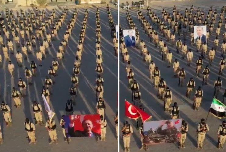 عرض عسكري للمرتزقة السوريين في طرابلس