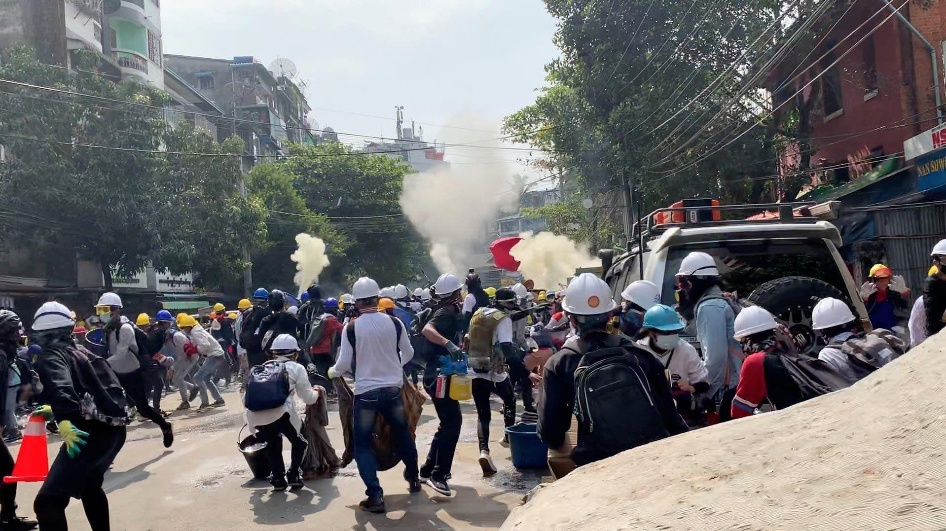 من الاحتجاجات المنهاضة للانقلاب اليوم في يانغون