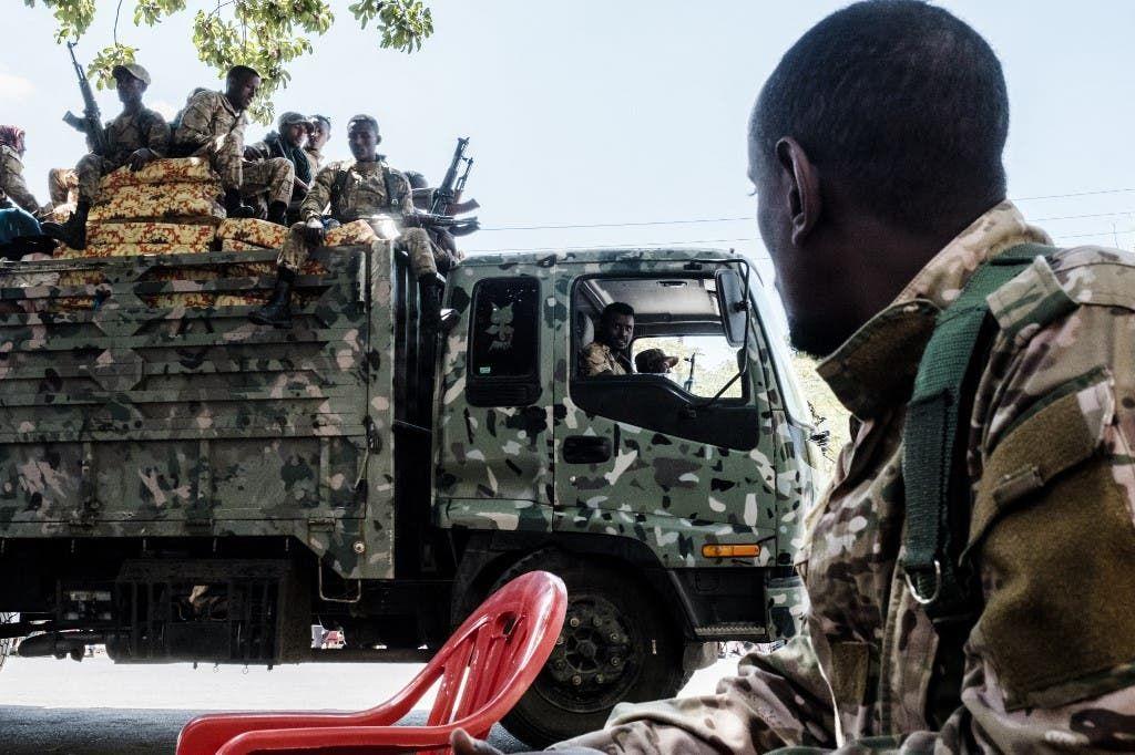 عناصر من قوات أمهرة بالقرب من إقليم تيغراي في إثيوبيا - أرشيفية من فرانس برس