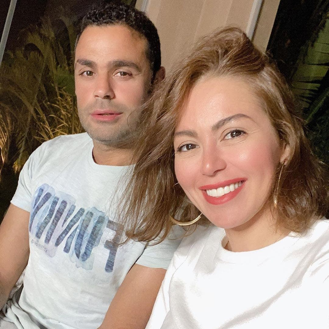 لقاء الخميسي مع زوجها لاعب الكرة السابق محمد عبدالمنصف