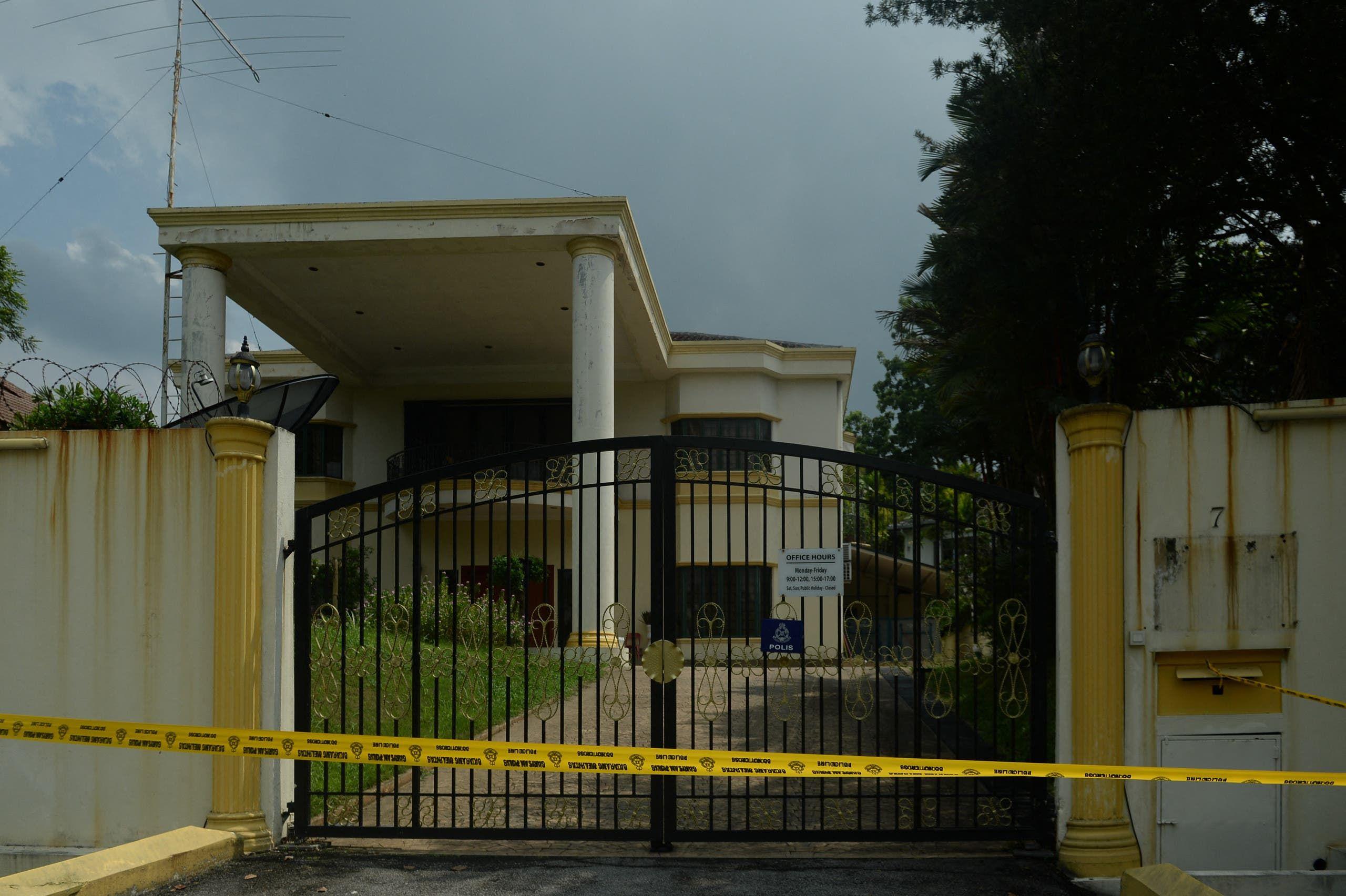 سفارة كوريا الشمالية في كولالمبور بعد إزالة العلم عنها