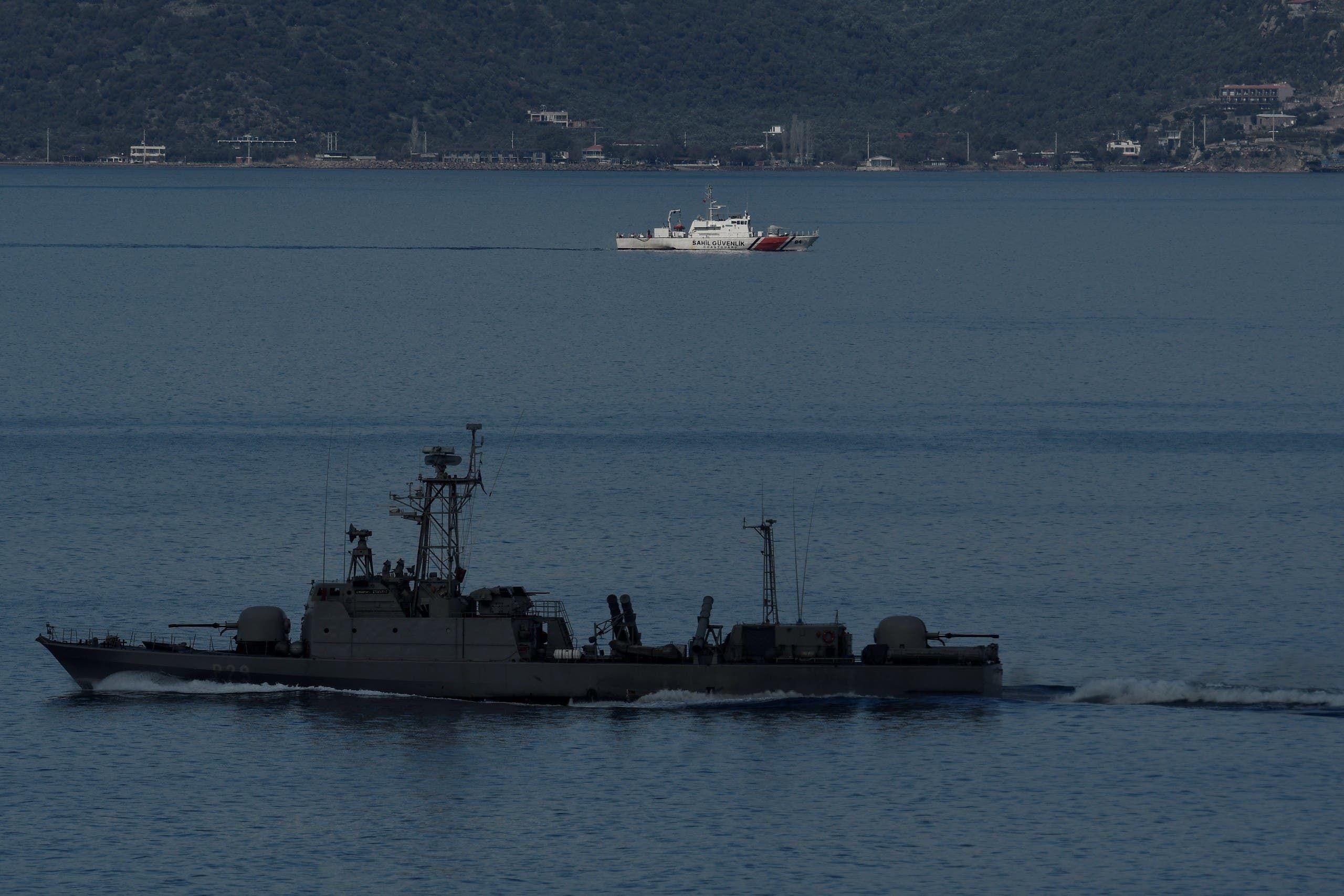 سفينة تركية قبالة اليونان (أرشيفية- فرانس برس)