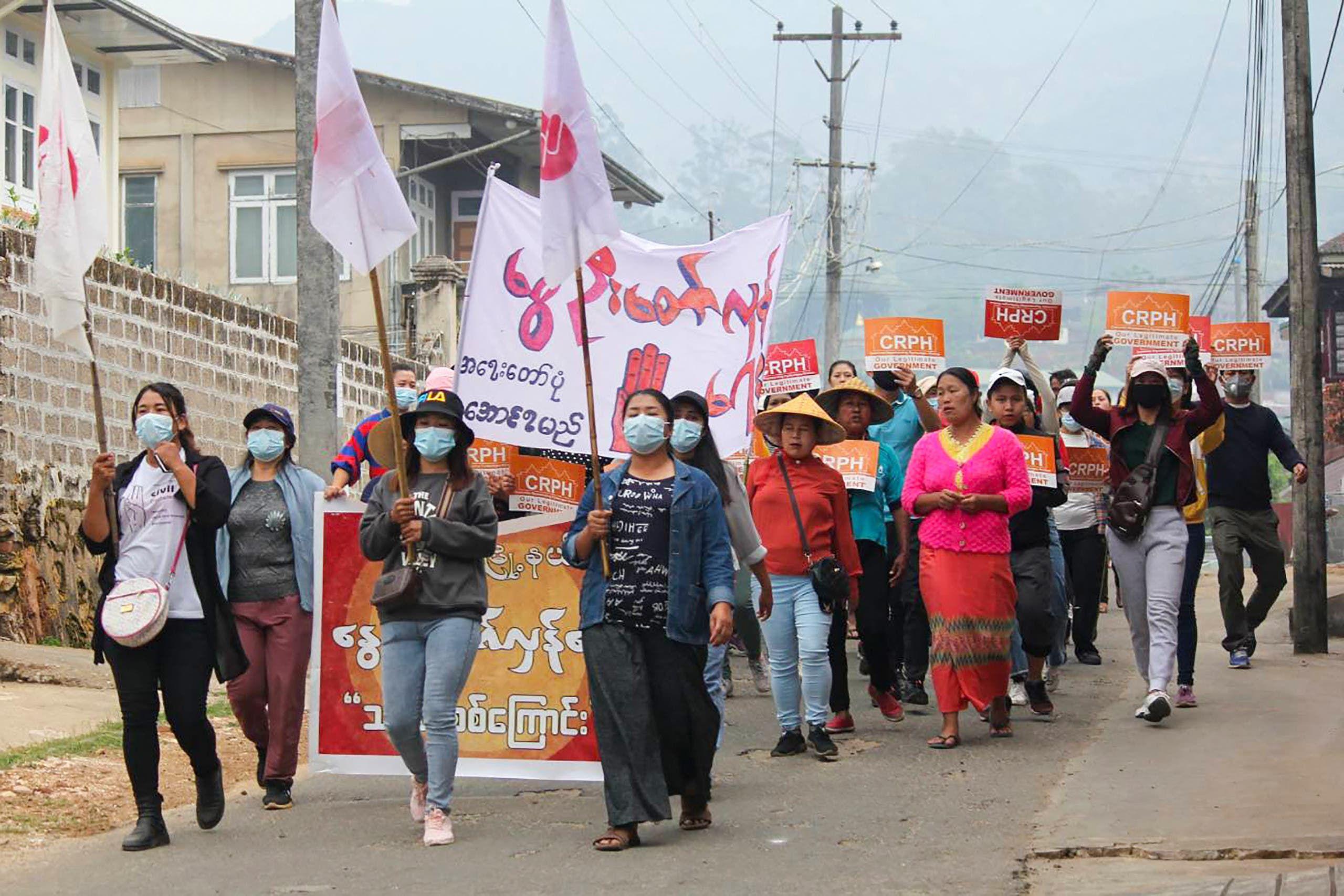من احتجاجات الأحد في ماندالاي