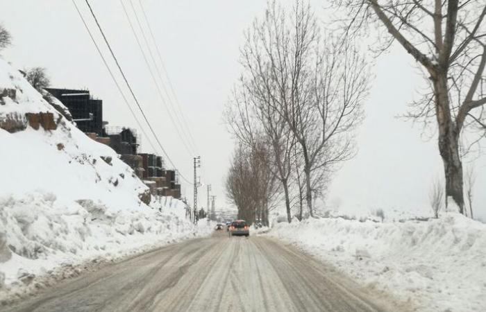 حال الطرقات الجبلية في ظل المنخفض الجوي