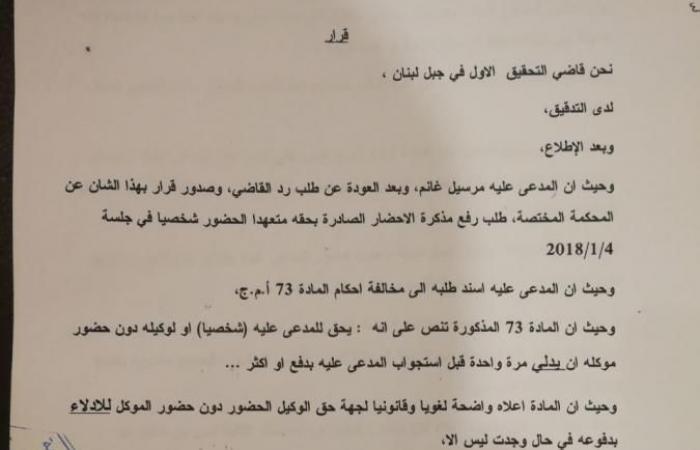 بالصور- هذا ما قرره قاضي التحقيق الاول في جبل لبنان في قضية الاعلامي مارسيل غانم