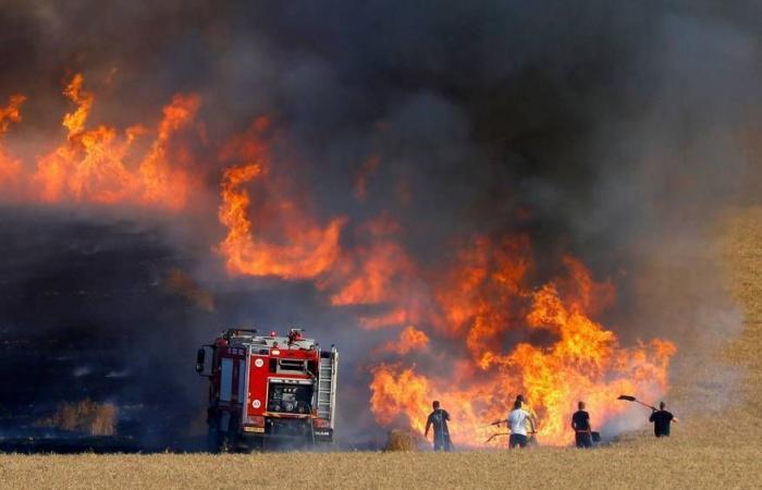 فلسطين   5 حرائق داخل السياج الفاصل شرق قطاع غزة