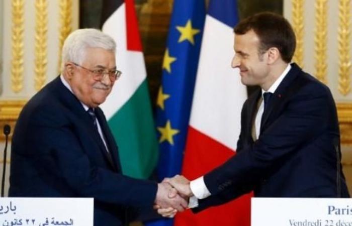 فلسطين   بدء الاجتماع المغلق بين الرئيس عباس و الفرنسيي ماكرون