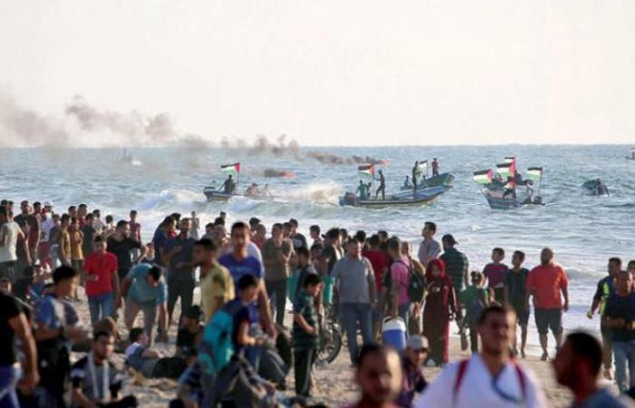 فلسطين | اصابات جراء اعتداء الاحتلال على المسير البحري العاشر شمال غزة