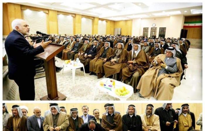العراق   ضارباً البروتوكول.. ظريف يلتقي شيوخ عشائر جنوب العراق