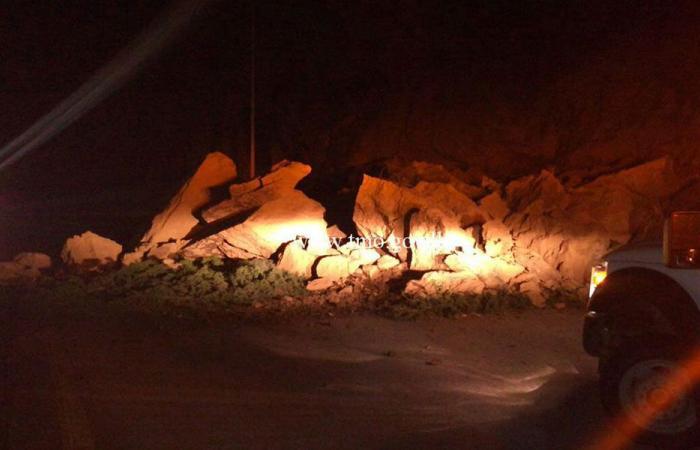 بالصور: انهيار صخري يقطع طريق أنفه باتجاه طرابلس