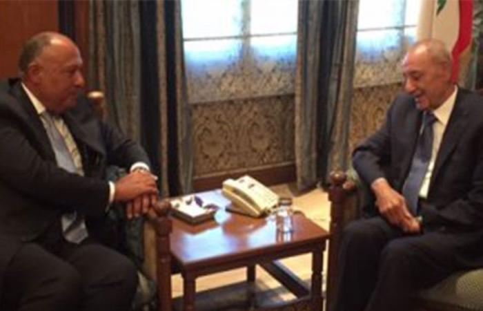 بري بحث مع وزير خارجية مصر العلاقات الثنائية