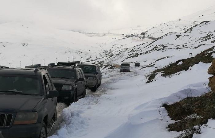 بالصور: إنقاذ مواطنين محتجزين بسبب الثلوج في ضهر البيدر