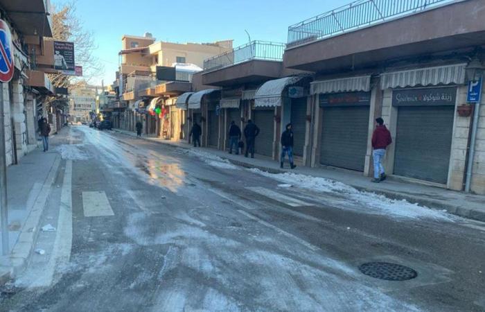الجليد غطى شوارع بعلبك