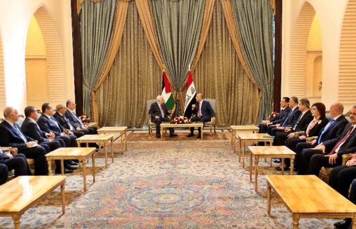 """رئيس العراق يؤكد لـ""""أبو مازن"""" ضرورة بذل الجهود لتحقيق آمال شعب فلسطين"""