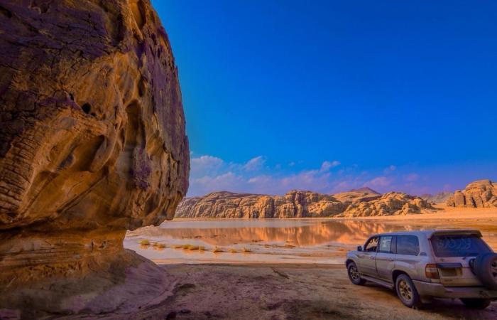 الخليح   شاهد.. مغارة وكهوف فريدة في عمق جبال الزيتة بالسعودية