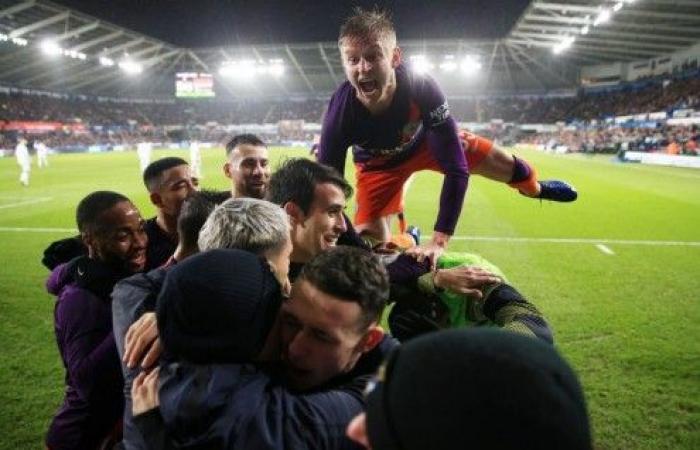 مانشستر سيتي الى نصف نهائي كأس الإتحاد بقلب تأخره أمام سوانزي بهدفين