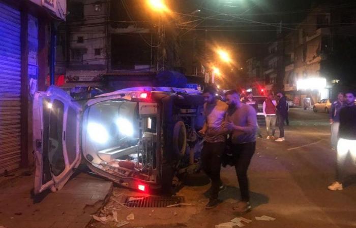 """في صيدا.. حادث مروع بين سيارة إسعاف وسيارة لـ""""قوى الامن"""""""