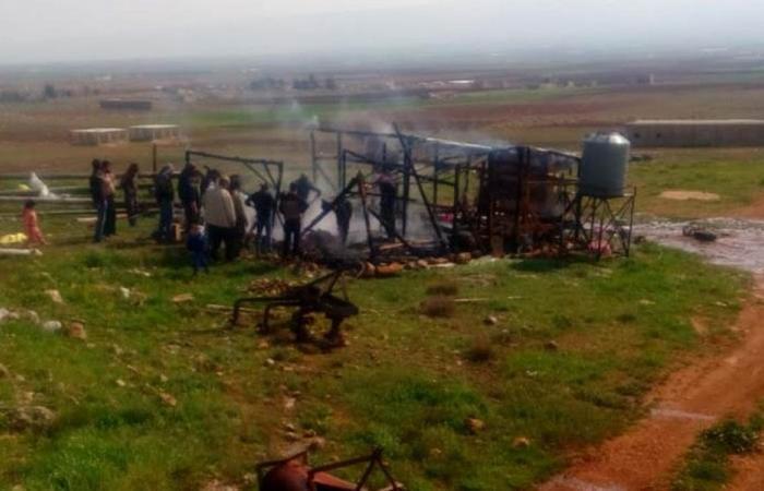 احتراق خيمة للنازحين السوريين في بعلبك
