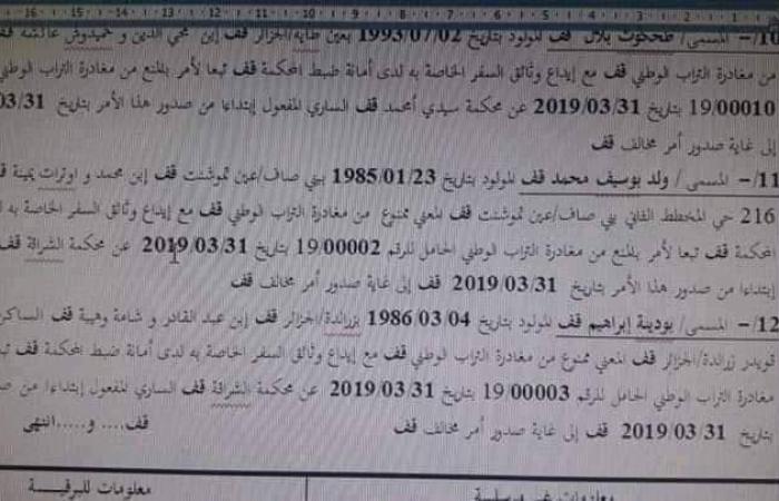 بالأسماء.. قائمة الممنوعين من مغادرة الجزائر