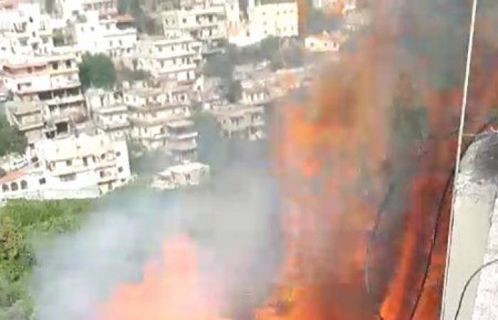 الدفاع المدني يخمد حريقًا في وادي حلبا (صورة)
