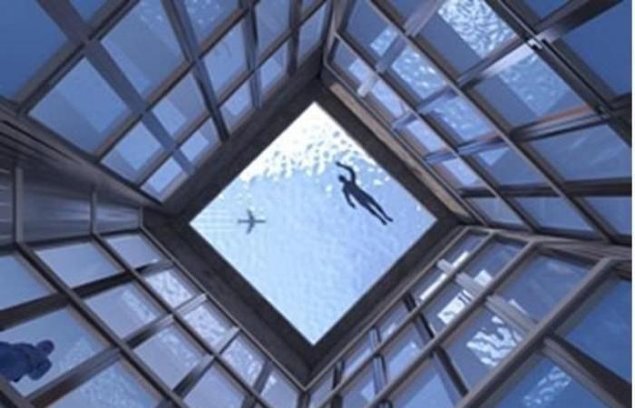 بالصور: أول وأخطر حمام سباحة في العالم بزاوية 360 درجة