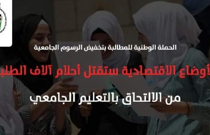 فلسطين | الحملة الوطنية: الأوضاع الاقتصادية ستقتل أحلام آلاف الطلبة