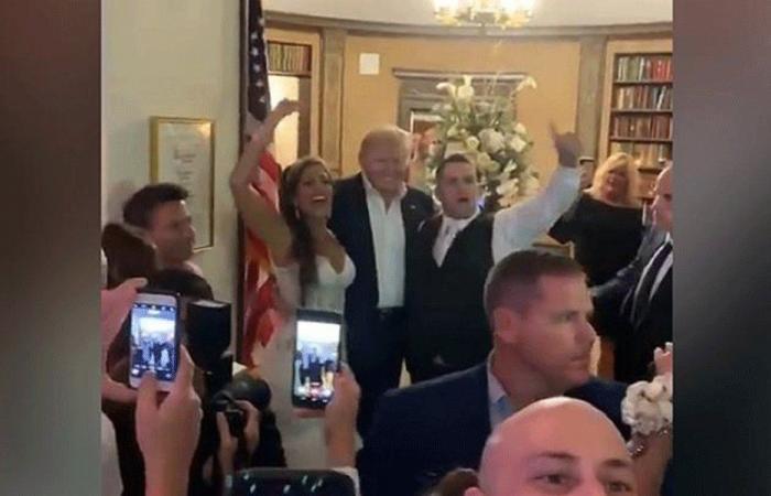 بالفيديو: ترامب يفاجئ الجميع في حفل زفاف