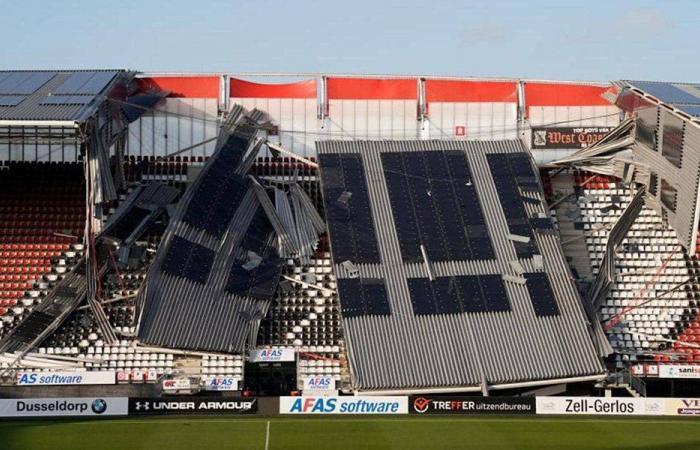 رياح تحطم ملعب ألكمار الهولندي