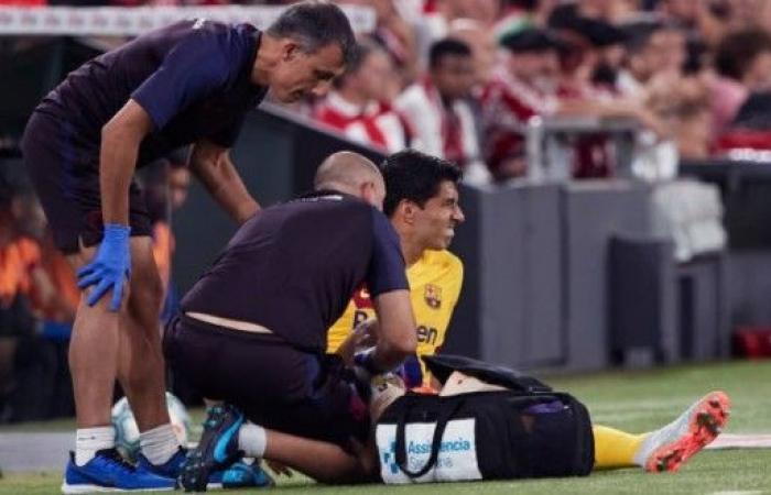 برشلونة يعلن عن إصابة سواريز بساقه في مباراة بلباو.. وهذه فترة غيابه