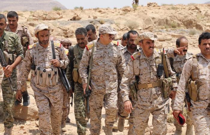 اليمن   بالصور.. وزير الدفاع اليمني في المواقع المحررة في نهم