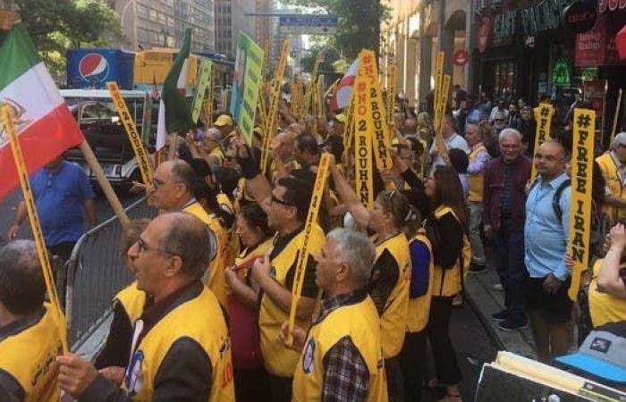 إيران   نيويورك.. إيرانيون يتظاهرون ضد روحاني وظريف