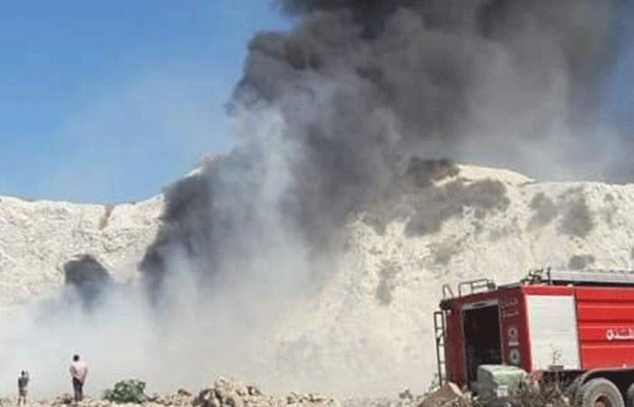 إخماد حريق داخل مكب للنفايات في أميون