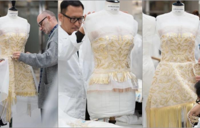 استغرق 1200 ساعة تصميم.. شاهدوا فستان تشارلز ثيرون الذهبي!