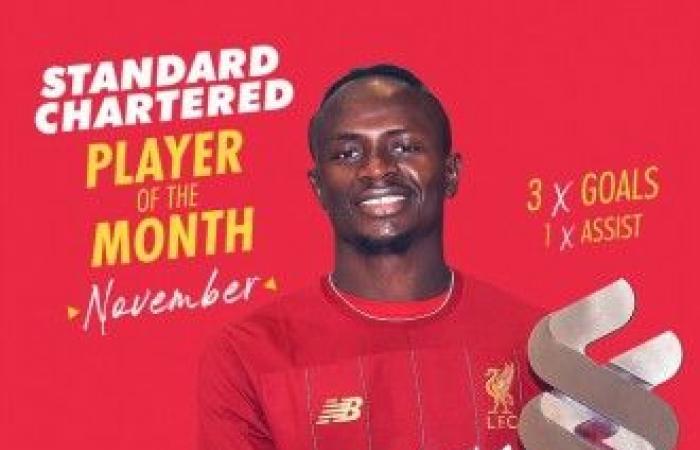 ماني يفوز بجائزة لاعب الشهر في ليفربول