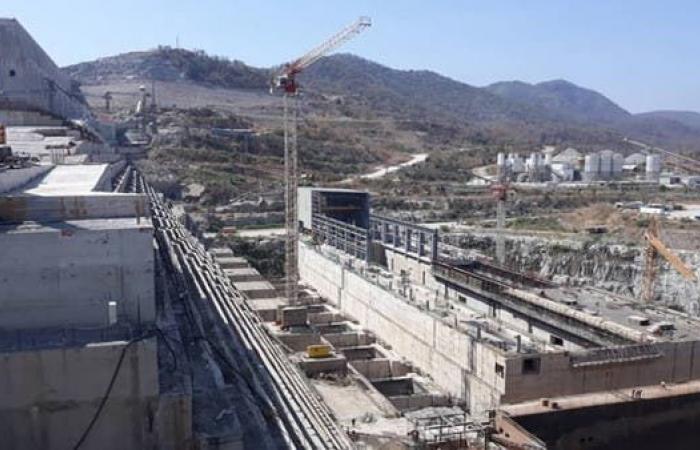 مصر   بالصور.. آخر تطورات بناء سد النهضة الإثيوبي