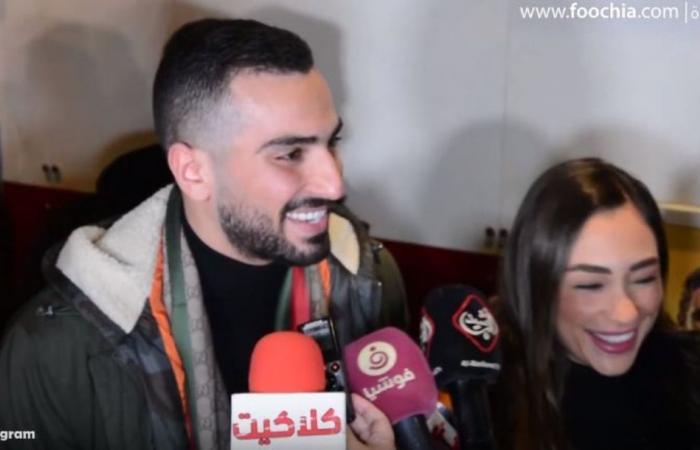 خطيبة محمد الشرنوبي تسانده في عرض فيلمه الجديد