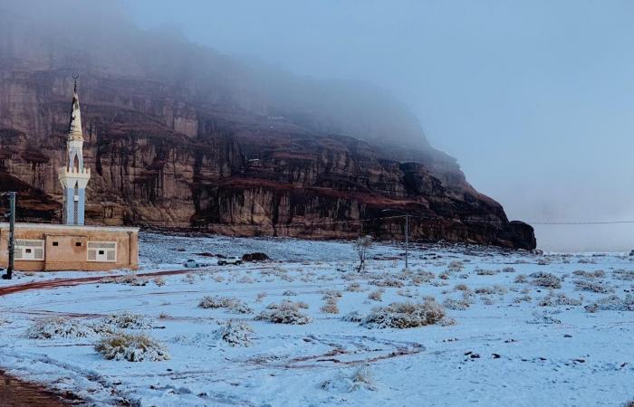 الخليج   البياض يكسي مرتفعات نيوم بتبوك.. والحرارة 15 تحت الصفر