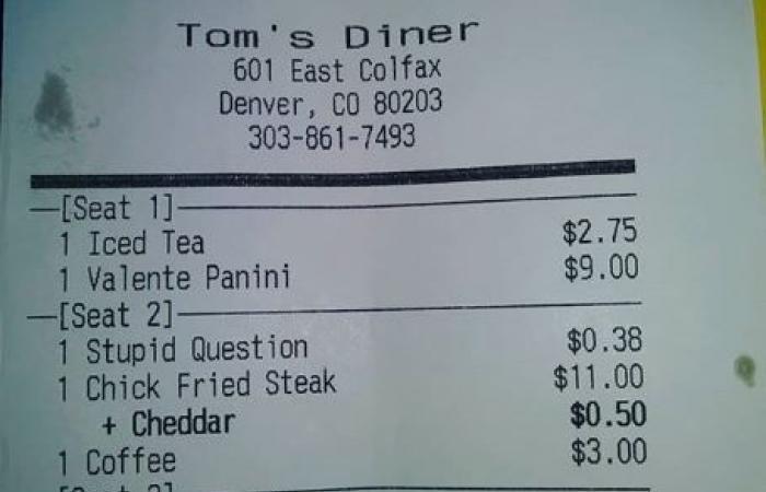 """مطعم يفرض عمولة على """"السؤال الغبي"""""""