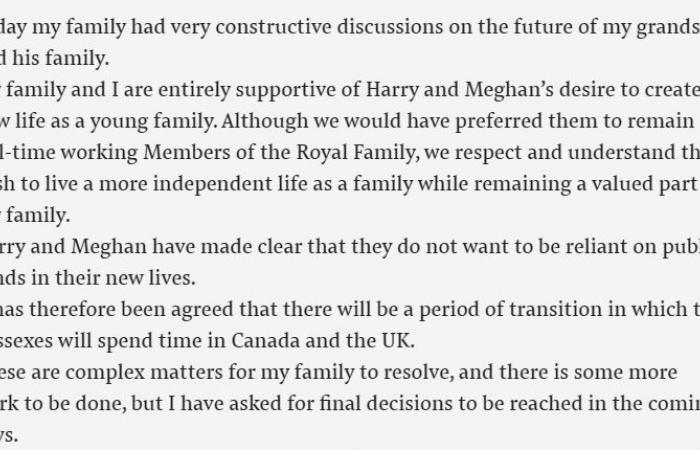الملكة إليزابيث تفاجىء الجميع ببيانها حول تخلي هاري وميغان عن منصبهما